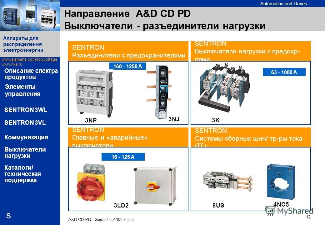Automation and Drives www.siemens.com/lowvoltage www.nka.ru A&D CD PD - Guide / 051108 / Hen 12 Аппараты для распределения электроэнергии s Описание спектра продуктов SENTRON 3WL SENTRON 3VL Коммуникация Выключатели нагрузки Каталоги/ техническая под