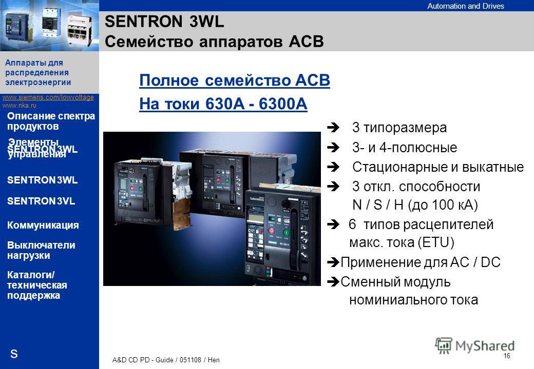Automation and Drives www.siemens.com/lowvoltage www.nka.ru A&D CD PD - Guide / 051108 / Hen 16 Аппараты для распределения электроэнергии s Описание спектра продуктов SENTRON 3WL SENTRON 3VL Коммуникация Выключатели нагрузки Каталоги/ техническая под