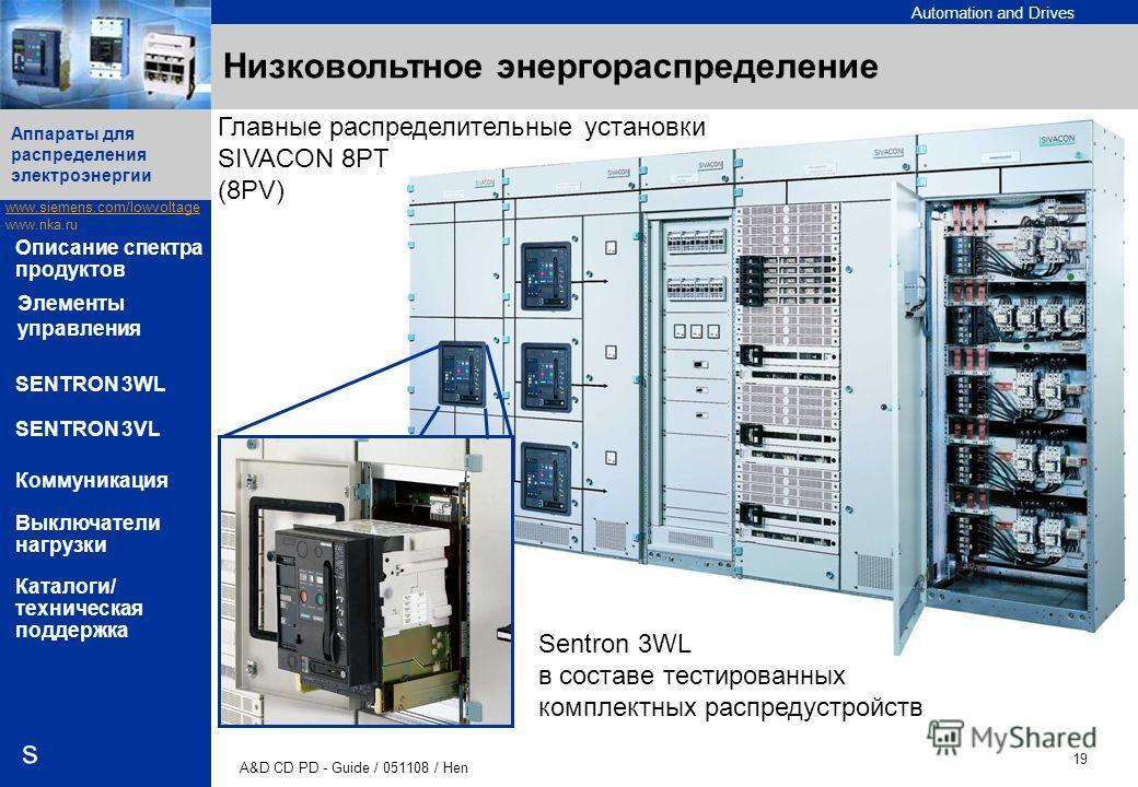 Automation and Drives www.siemens.com/lowvoltage www.nka.ru A&D CD PD - Guide / 051108 / Hen 19 Аппараты для распределения электроэнергии s Описание спектра продуктов SENTRON 3WL SENTRON 3VL Коммуникация Выключатели нагрузки Каталоги/ техническая под