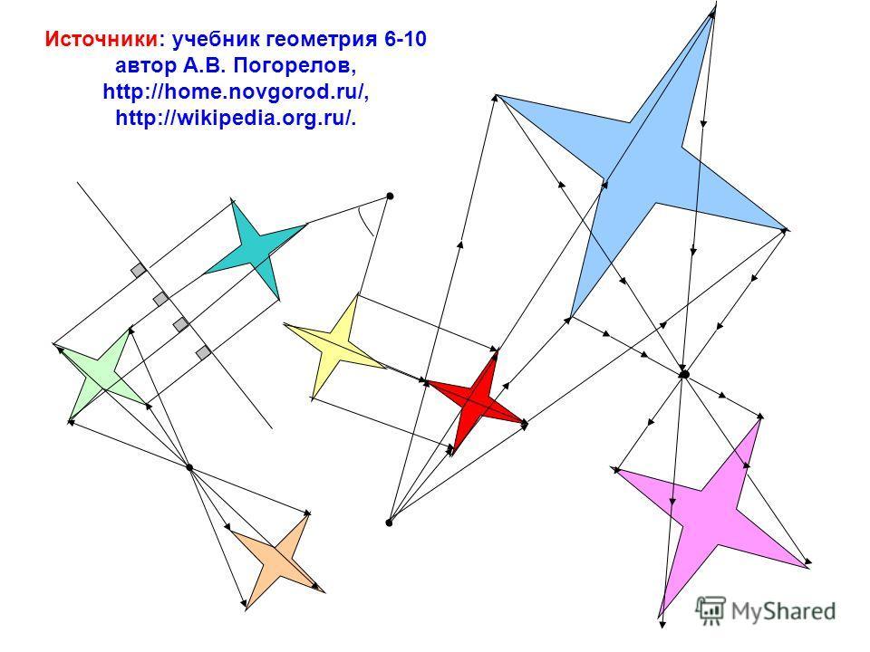 Источники: учебник геометрия 6-10 автор А.В. Погорелов, http://home.novgorod.ru/, http://wikipedia.org.ru/.