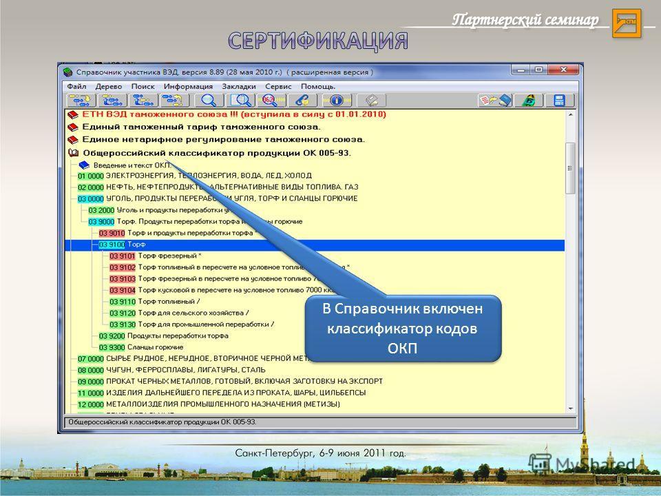 В Справочник включен классификатор кодов ОКП