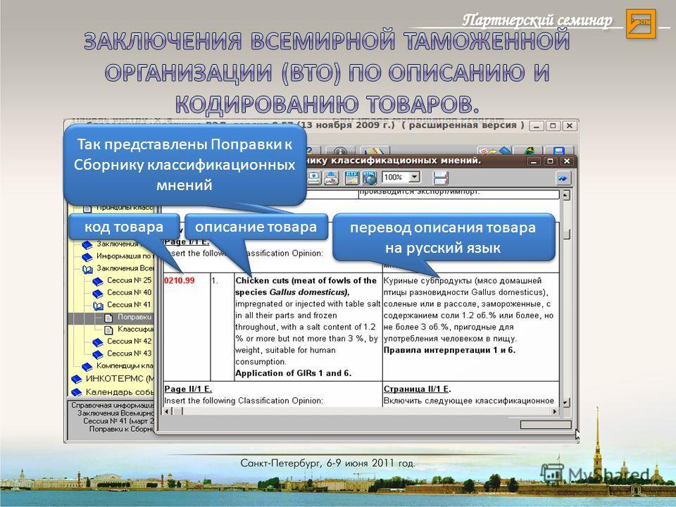 Так представлены Поправки к Сборнику классификационных мнений код товара описание товара перевод описания товара на русский язык