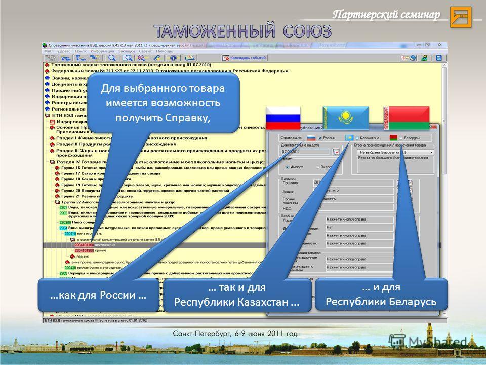 …как для России … … так и для Республики Казахстан... … и для Республики Беларусь Для выбранного товара имеется возможность получить Справку,