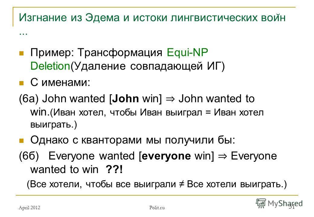 Изгнание из Эдема и истоки лингвистических вои ̆ н... Пример: Трансформация Equi-NP Deletion(Удаление совпадающей ИГ) С именами: (6а) John wanted [John win] John wanted to win. (Иван хотел, чтобы Иван выиграл = Иван хотел выиграть.) Однако с квантора