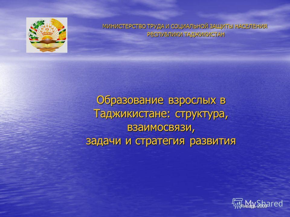 Образование взрослых в Таджикистане: структура, взаимосвязи, задачи и стратегия развития МИНИСТЕРСТВО ТРУДА И СОЦИАЛЬНОЙ ЗАЩИТЫ НАСЕЛЕНИЯ РЕСПУБЛИКИ ТАДЖИКИСТАН РЕСПУБЛИКИ ТАДЖИКИСТАН Январь-2009