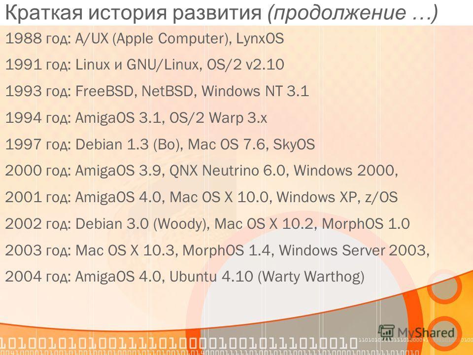Краткая история развития (продолжение …) 1988 год: A/UX (Apple Computer), LynxOS 1991 год: Linux и GNU/Linux, OS/2 v2.10 1993 год: FreeBSD, NetBSD, Windows NT 3.1 1994 год: AmigaOS 3.1, OS/2 Warp 3.x 1997 год: Debian 1.3 (Bo), Mac OS 7.6, SkyOS 2000