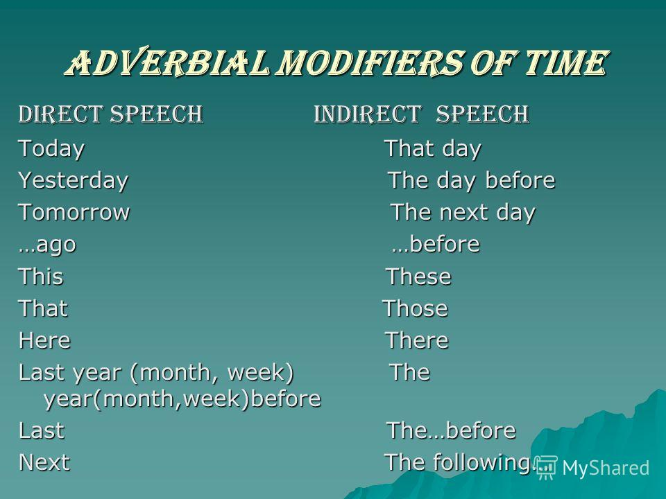Adverbial modifiers of time DIRECT SPEECH INDIRECT SPEECH Today That day Yesterday The day before Tomorrow The next day …ago …before This These That Those Here There Last year (month, week) The year(month,week)before Last The…before Next The followin