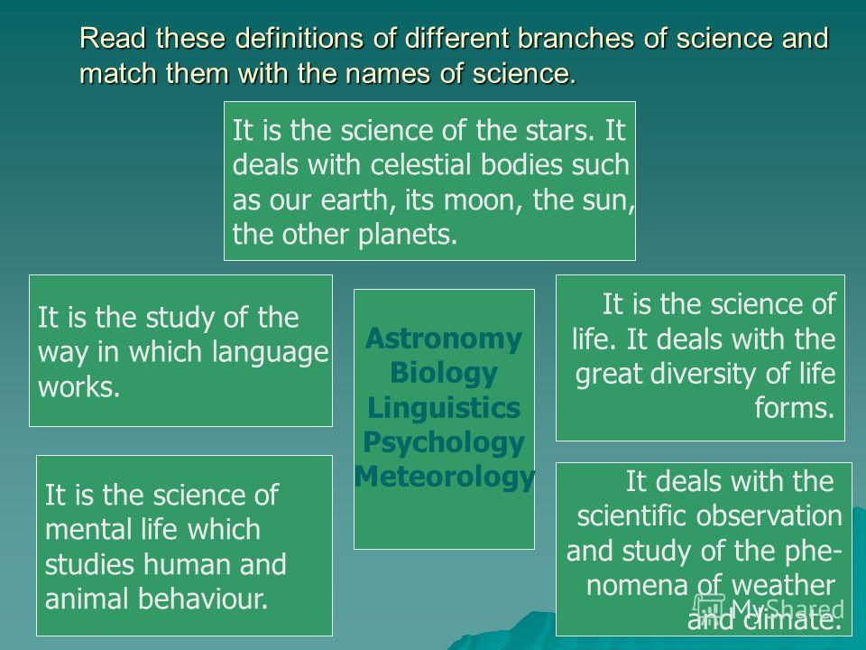 Read these definitions of different branches of science and match them with the names of science. It is the study of the way in which language works. It is the science of mental life which studies human and animal behaviour. It is the science of the