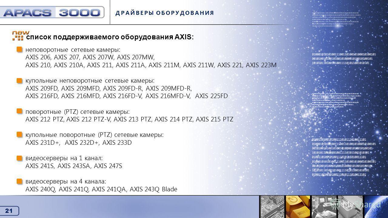 21 Драйверы оборудования ДРАЙВЕРЫ ОБОРУДОВАНИЯ 21 неповоротные сетевые камеры: AXIS 206, AXIS 207, AXIS 207W, AXIS 207MW, AXIS 210, AXIS 210A, AXIS 211, AXIS 211A, AXIS 211M, AXIS 211W, AXIS 221, AXIS 223M купольные неповоротные сетевые камеры: AXIS