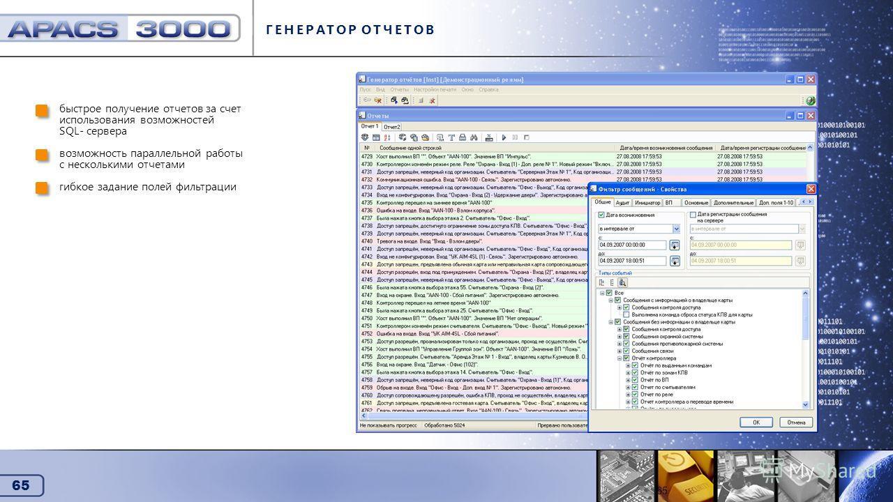 65 Генератор отчетов ГЕНЕРАТОР ОТЧЕТОВ быстрое получение отчетов за счет использования возможностей SQL- сервера возможность параллельной работы с несколькими отчетами гибкое задание полей фильтрации 65
