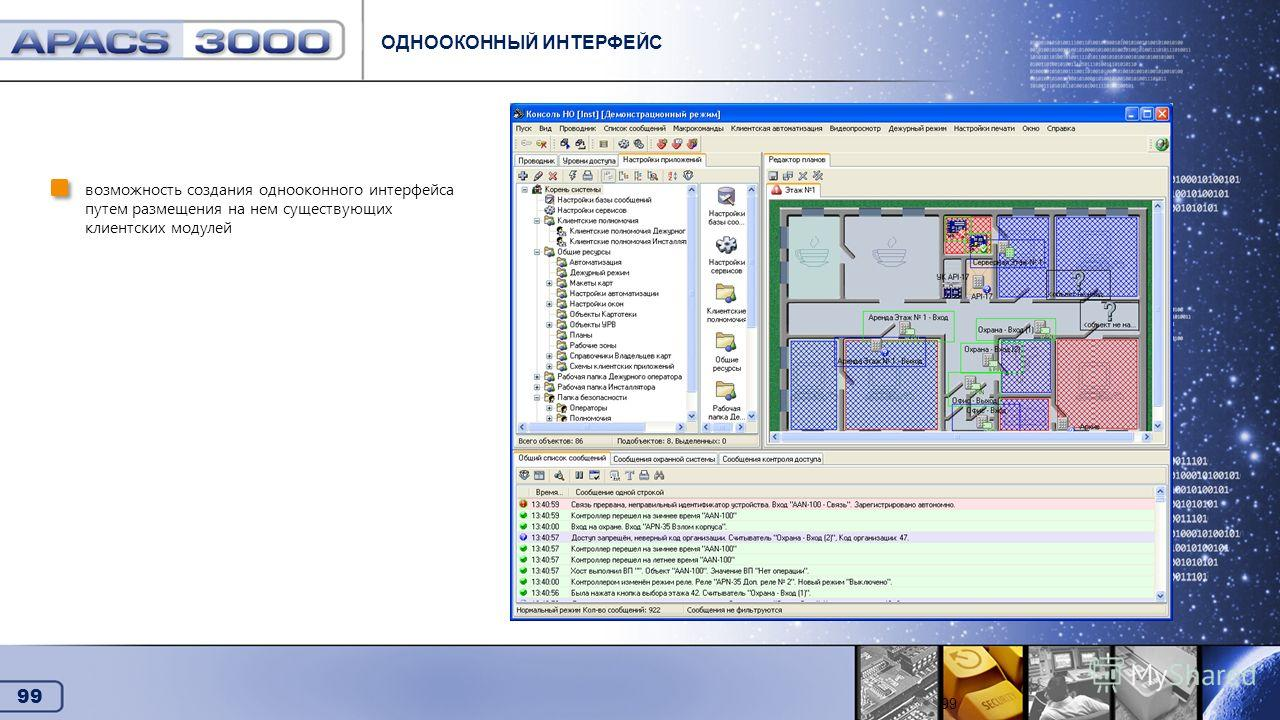 99 Схемы клиентских приложений ОДНООКОННЫЙ ИНТЕРФЕЙС 99 возможность создания однооконного интерфейса путем размещения на нем существующих клиентских модулей