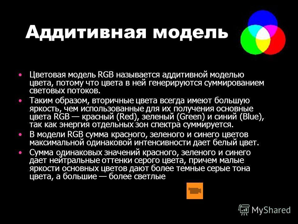Аддитивная модель Цветовая модель RGB называется аддитивной моделью цвета, потому что цвета в ней генерируются суммированием световых потоков. Таким образом, вторичные цвета всегда имеют большую яркость, чем использованные для их получения основные ц