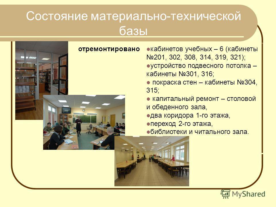 отремонтировано кабинетов учебных – 6 (кабинеты 201, 302, 308, 314, 319, 321); устройство подвесного потолка – кабинеты 301, 316; покраска стен – кабинеты 304, 315; капитальный ремонт – столовой и обеденного зала, два коридора 1-го этажа, переход 2-г