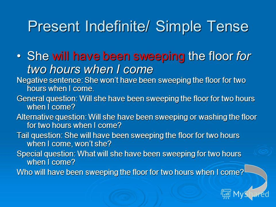 Present Indefinite/ Simple Tense She will have been sweeping the floor for two hours when I comeShe will have been sweeping the floor for two hours when I come Negative sentence: She wont have been sweeping the floor for two hours when I come. Genera
