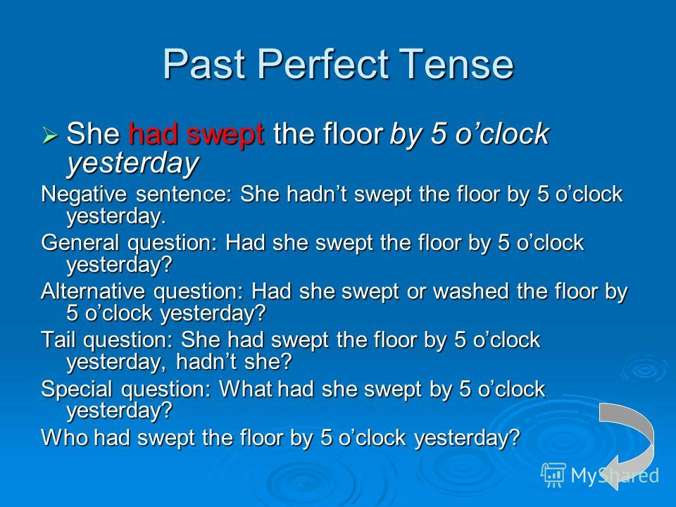 Past Perfect Tense She had swept the floor by 5 oclock yesterday She had swept the floor by 5 oclock yesterday Negative sentence: She hadnt swept the floor by 5 oclock yesterday. General question: Had she swept the floor by 5 oclock yesterday? Altern