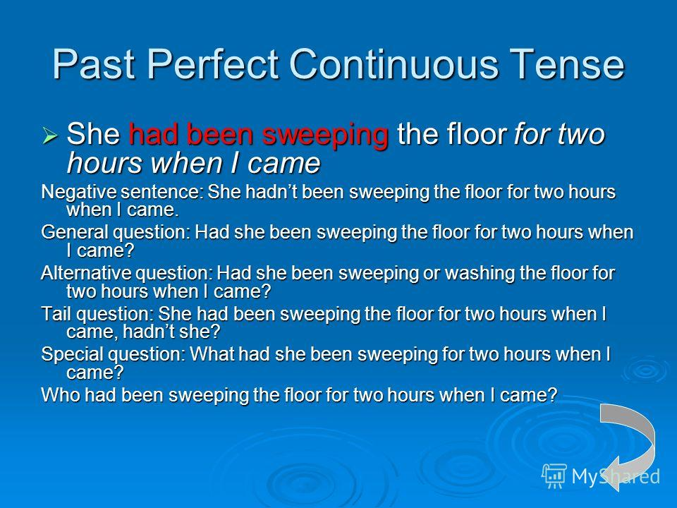 Past Perfect Continuous Tense She had been sweeping the floor for two hours when I came She had been sweeping the floor for two hours when I came Negative sentence: She hadnt been sweeping the floor for two hours when I came. General question: Had sh