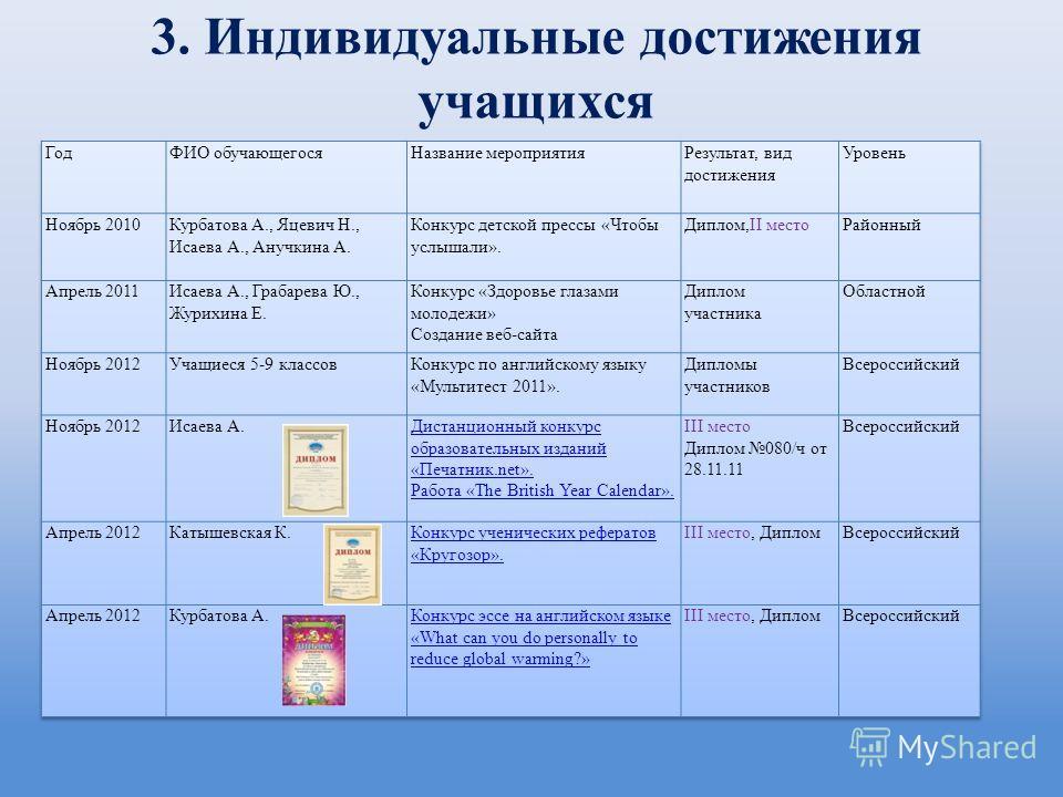 3. Индивидуальные достижения учащихся
