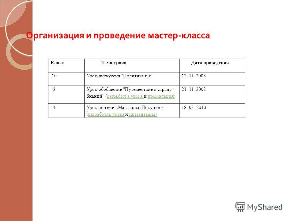 Организация и проведение мастер - класса Класс Тема урока Дата проведения 10Урок-дискуссия