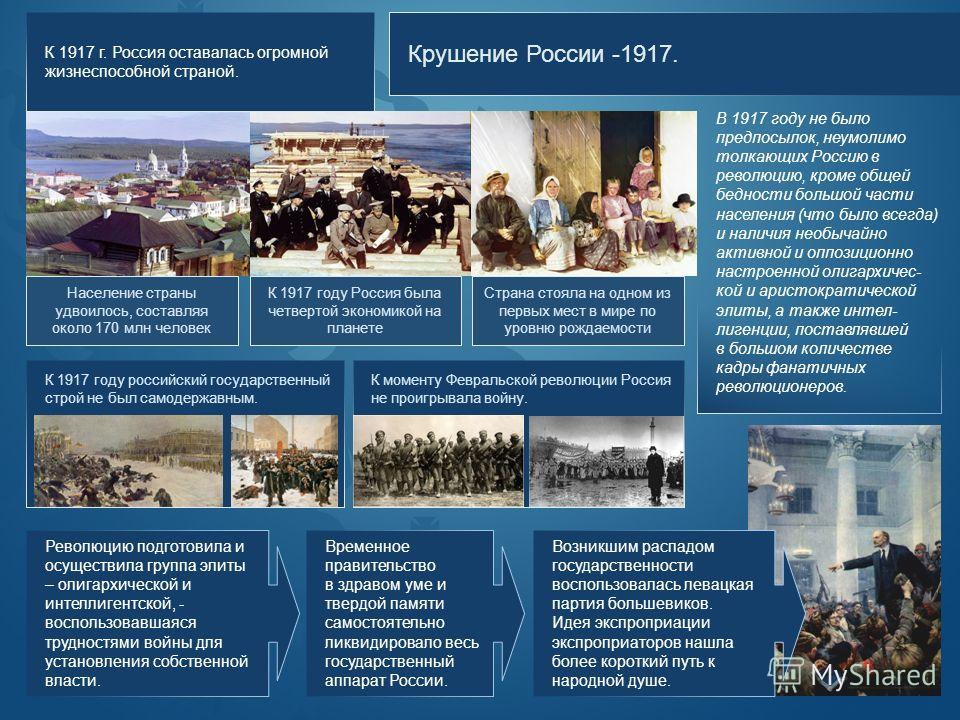 Крушение России -1917. В 1917 году не было предпосылок, неумолимо толкающих Россию в революцию, кроме общей бедности большой части населения (что было всегда) и наличия необычайно активной и оппозиционно настроенной олигархичес- кой и аристократическ