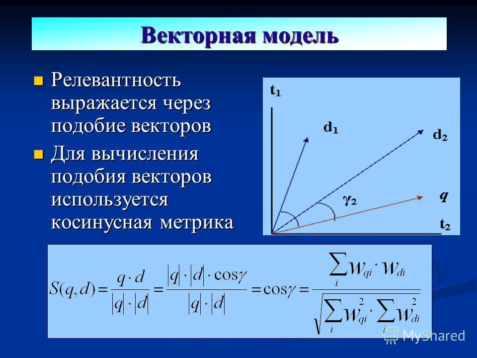 Релевантность выражается через подобие векторов Релевантность выражается через подобие векторов Для вычисления подобия векторов используется косинусная метрика Для вычисления подобия векторов используется косинусная метрика Векторная модель