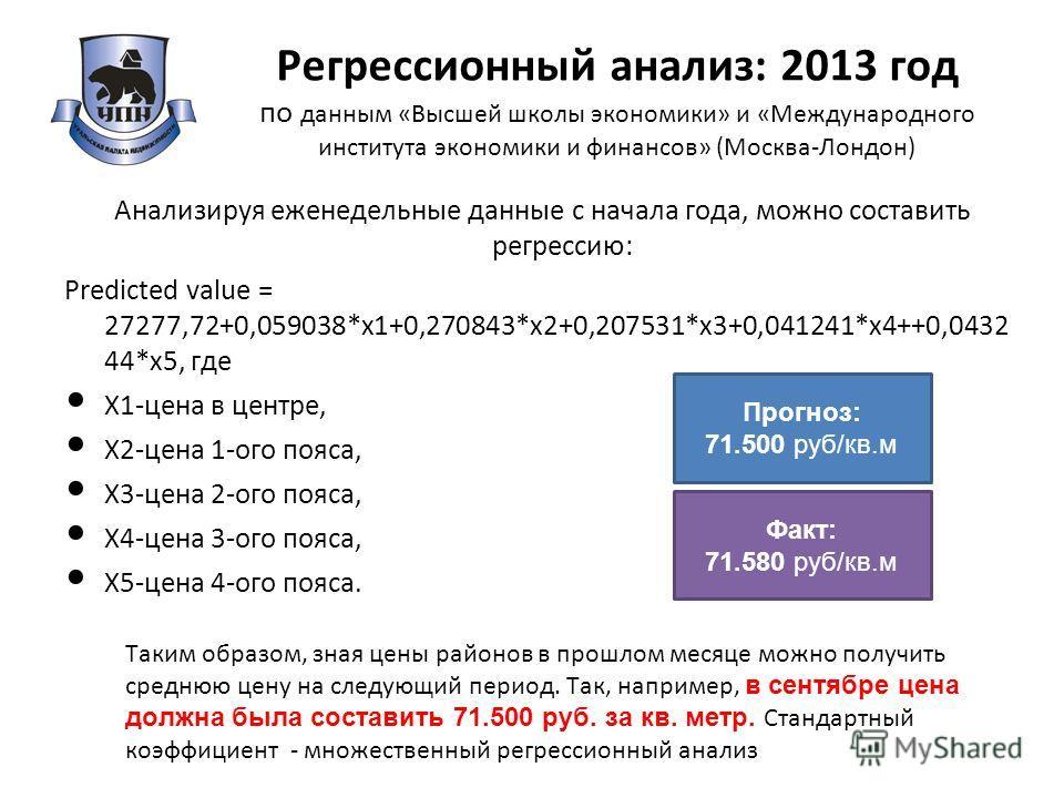 Регрессионный анализ: 2013 год по данным «Высшей школы экономики» и «Международного института экономики и финансов» (Москва-Лондон) Анализируя еженедельные данные с начала года, можно составить регрессию: Predicted value = 27277,72+0,059038*x1+0,2708