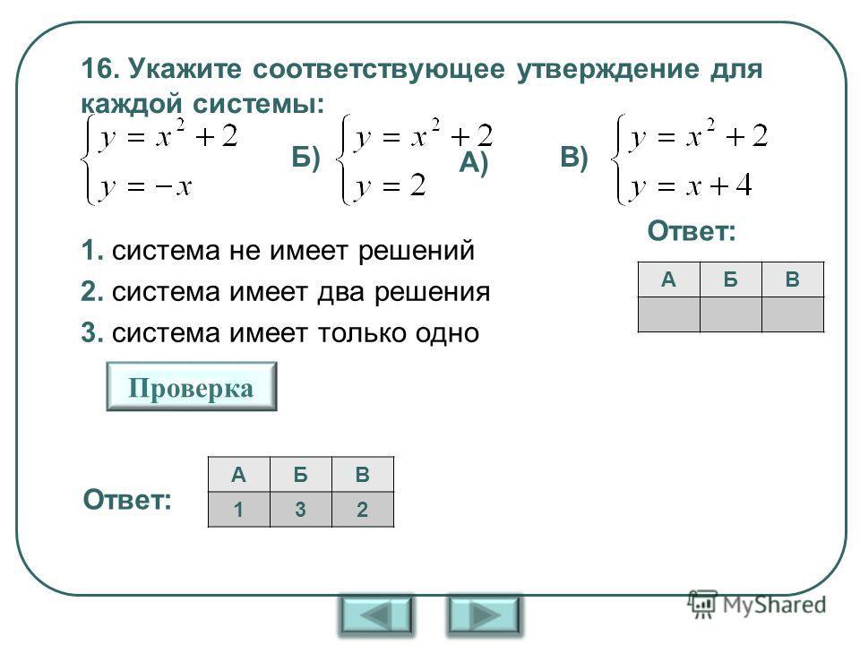 16. Укажите соответствующее утверждение для каждой системы: 1. система не имеет решений 2. система имеет два решения 3. система имеет только одно решение АБВ А) Б)В) Проверка Ответ: АБВ 132