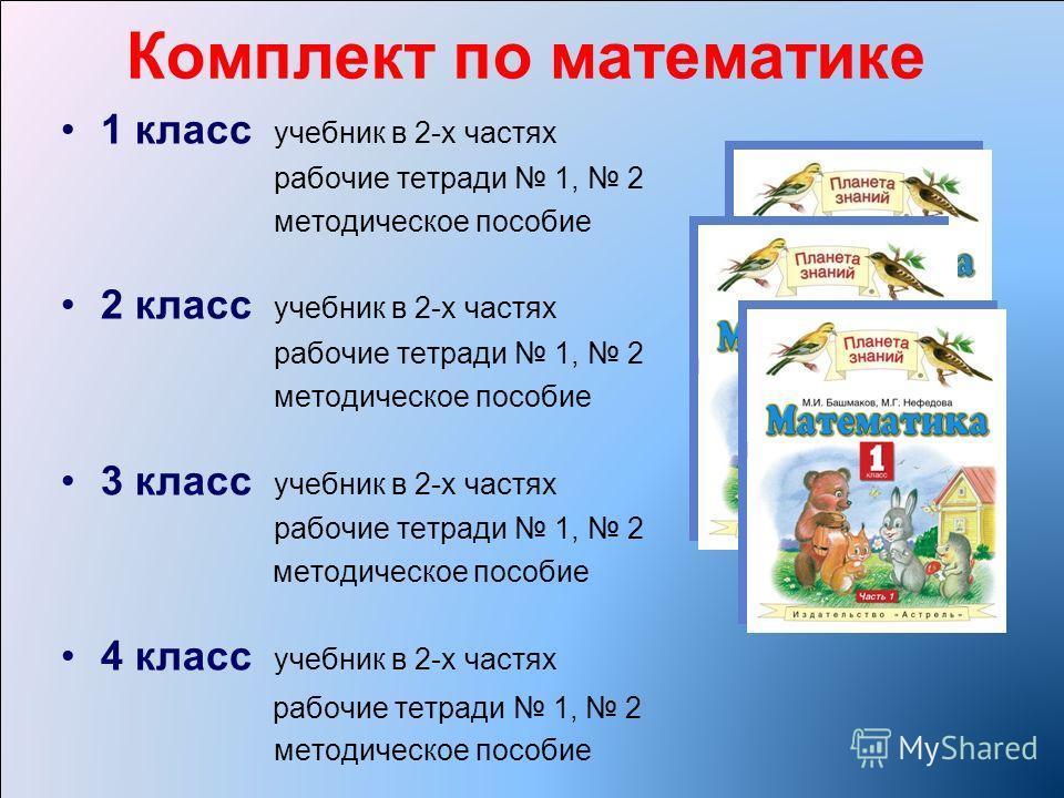 Комплект по математике 1 класс учебник в 2-х частях рабочие тетради 1, 2 методическое пособие 2 класс учебник в 2-х частях рабочие тетради 1, 2 методическое пособие 3 класс учебник в 2-х частях рабочие тетради 1, 2 методическое пособие 4 класс учебни