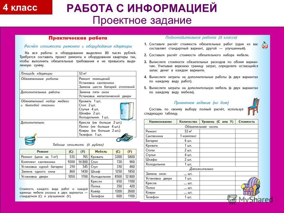 4 класс РАБОТА С ИНФОРМАЦИЕЙ Проектное задание