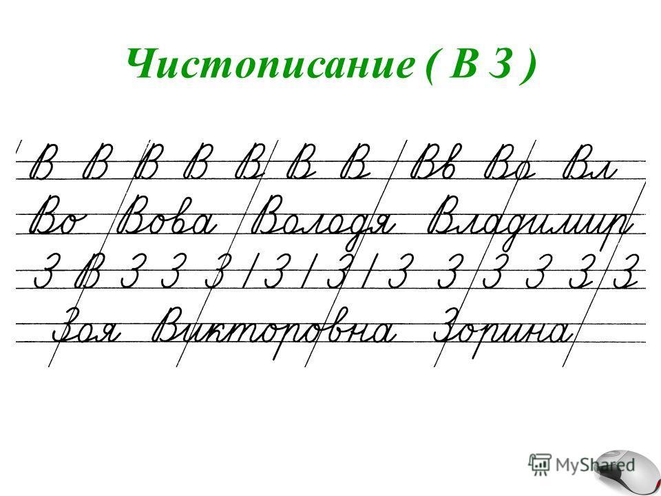 Чистописание ( В З )