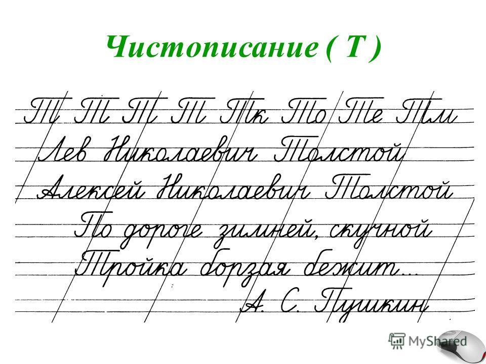 Чистописание ( Т )