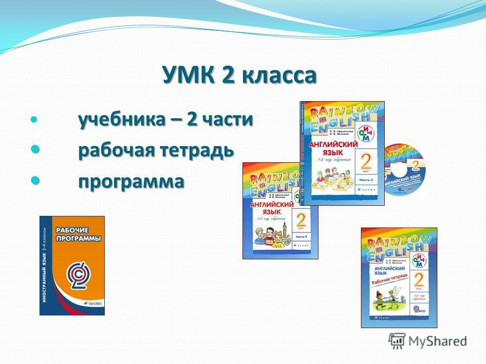 УМК 2 класса учебника – 2 части рабочая тетрадь рабочая тетрадь программа программа