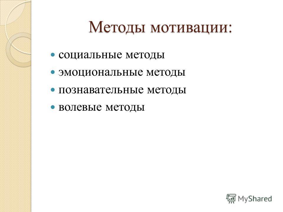 Методы мотивации: социальные методы эмоциональные методы познавательные методы волевые методы