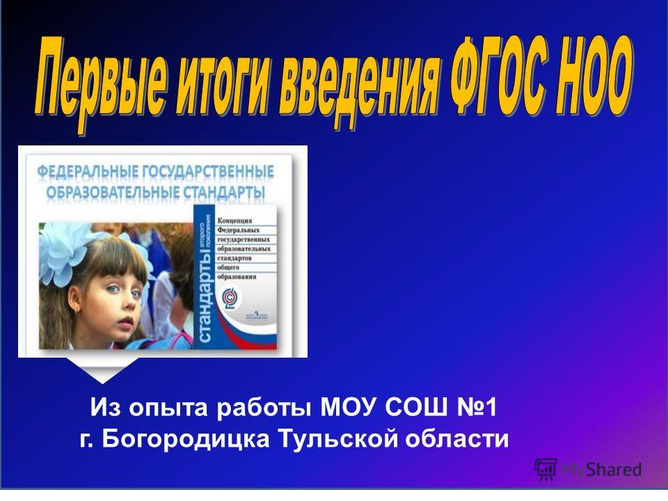 Из опыта работы МОУ СОШ 1 г. Богородицка Тульской области