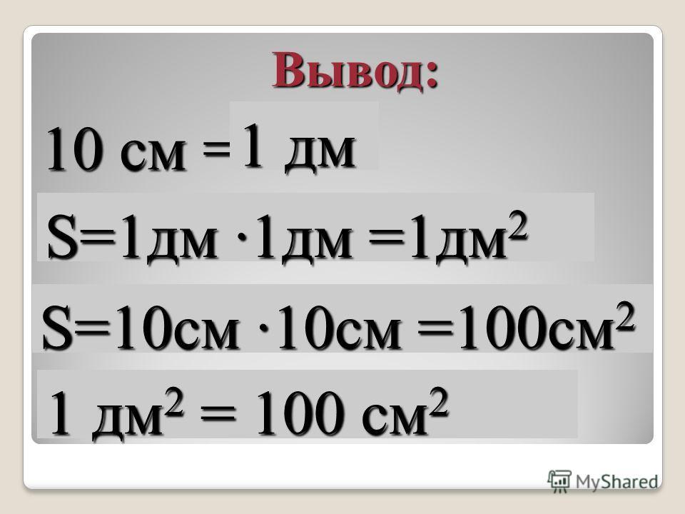 10 см = Вывод: 1 дм S=1дм ·1дм =1дм 2 1 дм 2 = 100 см 2 S=10см ·10см =100см 2