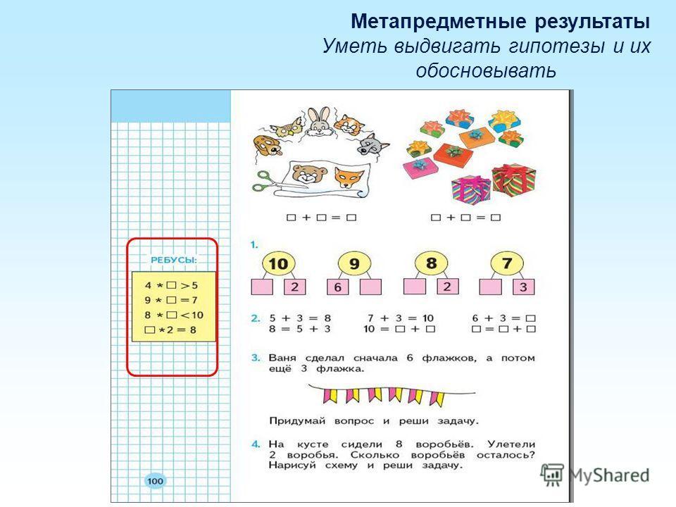 Метапредметные результаты Уметь выдвигать гипотезы и их обосновывать
