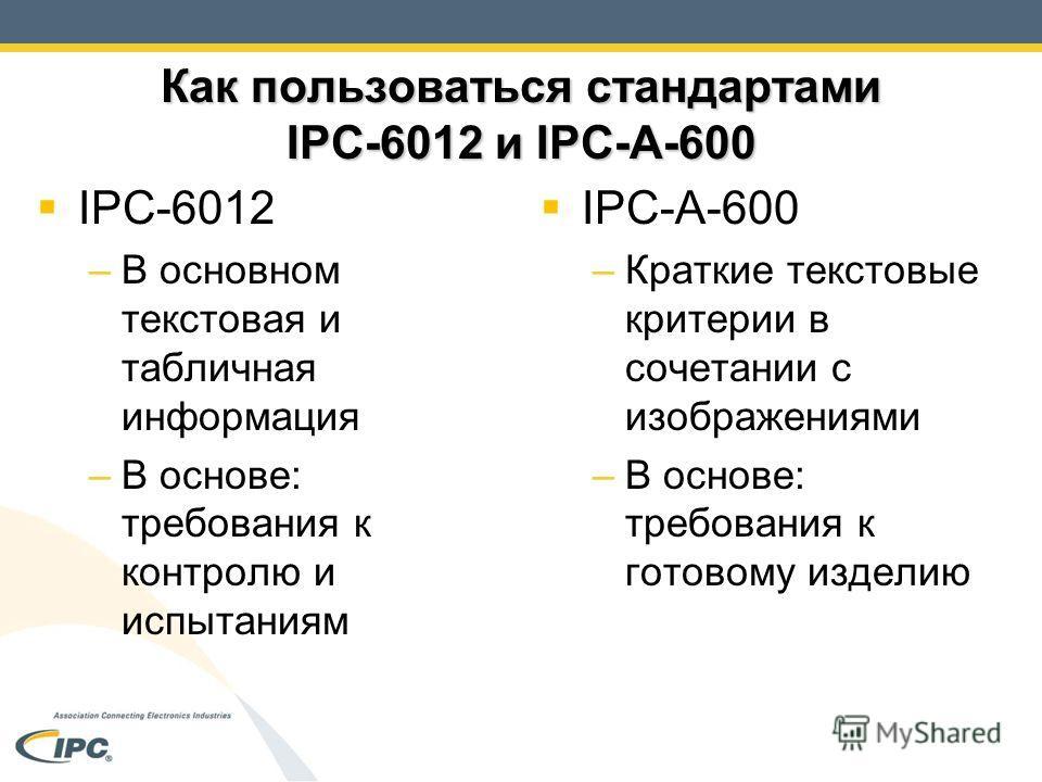Как пользоваться стандартами IPC-6012 и IPC-A-600 IPC-6012 –В основном текстовая и табличная информация –В основе: требования к контролю и испытаниям IPC-A-600 –Краткие текстовые критерии в сочетании с изображениями –В основе: требования к готовому и