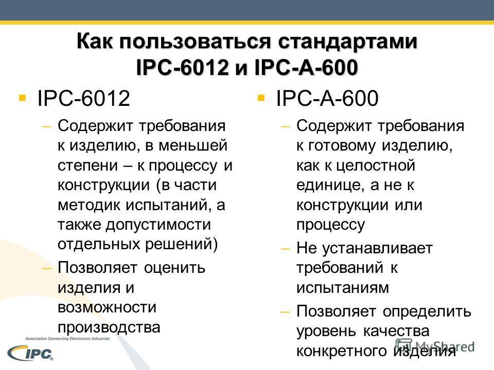 Как пользоваться стандартами IPC-6012 и IPC-A-600 IPC-6012 –Содержит требования к изделию, в меньшей степени – к процессу и конструкции (в части методик испытаний, а также допустимости отдельных решений) –Позволяет оценить изделия и возможности произ
