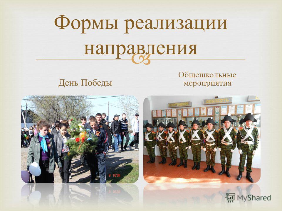 Формы реализации направления День Победы Общешкольные мероприятия