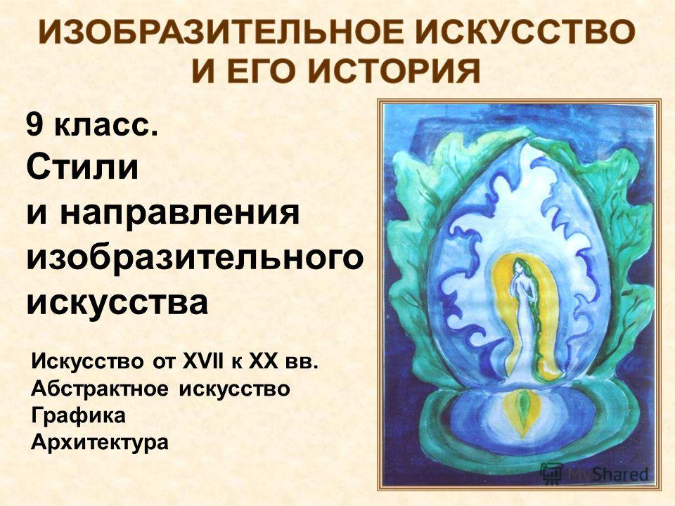 9 класс. Стили и направления изобразительного искусства Искусство от XVII к XX вв. Абстрактное искусство Графика Архитектура