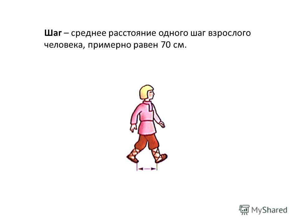 Шаг – среднее расстояние одного шаг взрослого человека, примерно равен 70 см.