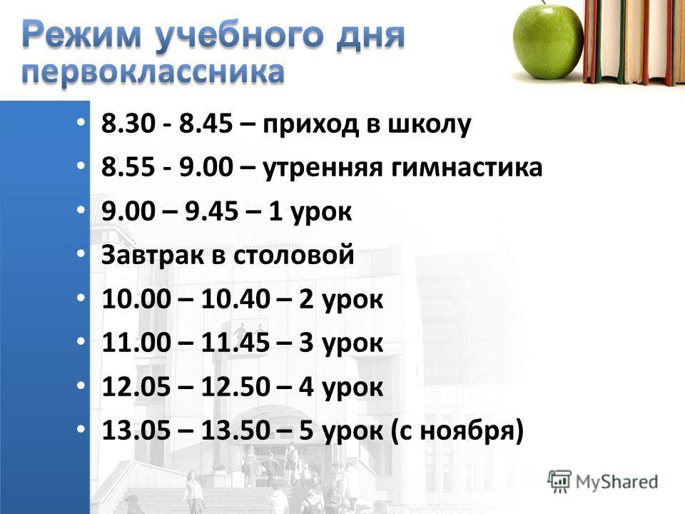 8.30 - 8.45 – приход в школу 8.55 - 9.00 – утренняя гимнастика 9.00 – 9.45 – 1 урок Завтрак в столовой 10.00 – 10.40 – 2 урок 11.00 – 11.45 – 3 урок 12.05 – 12.50 – 4 урок 13.05 – 13.50 – 5 урок (с ноября)