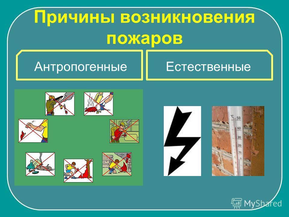 Причины возникновения пожаров ЕстественныеАнтропогенные