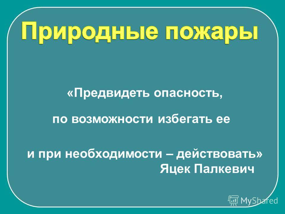 «Предвидеть опасность, и при необходимости – действовать» Яцек Палкевич по возможности избегать ее