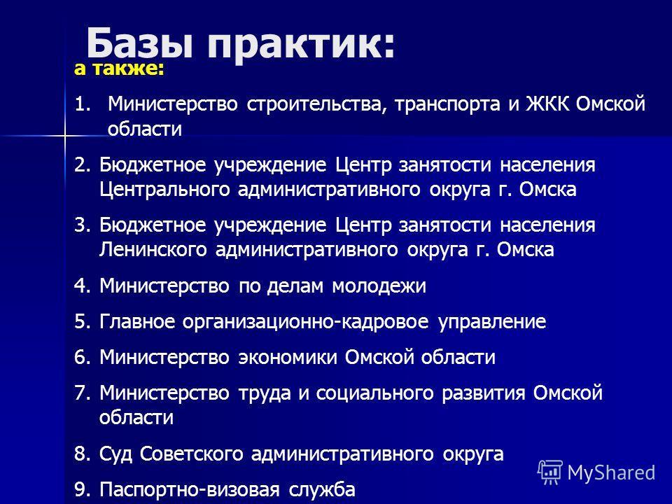 а также: 1.Министерство строительства, транспорта и ЖКК Омской области 2.Бюджетное учреждение Центр занятости населения Центрального административного округа г. Омска 3.Бюджетное учреждение Центр занятости населения Ленинского административного округ