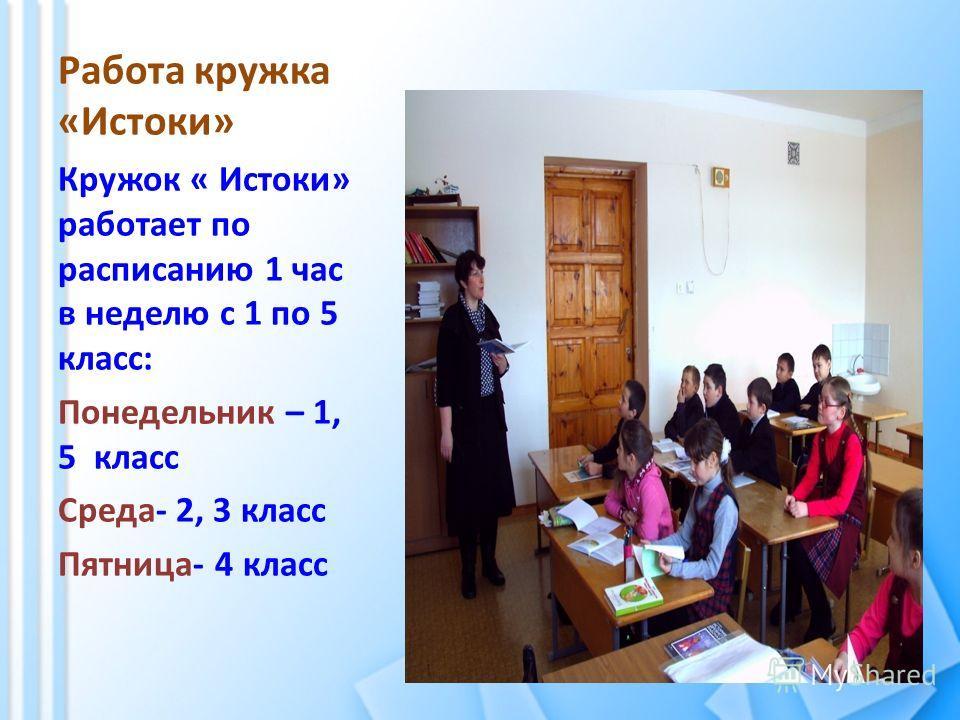 Работа кружка «Истоки» Кружок « Истоки» работает по расписанию 1 час в неделю с 1 по 5 класс: Понедельник – 1, 5 класс Среда- 2, 3 класс Пятница- 4 класс