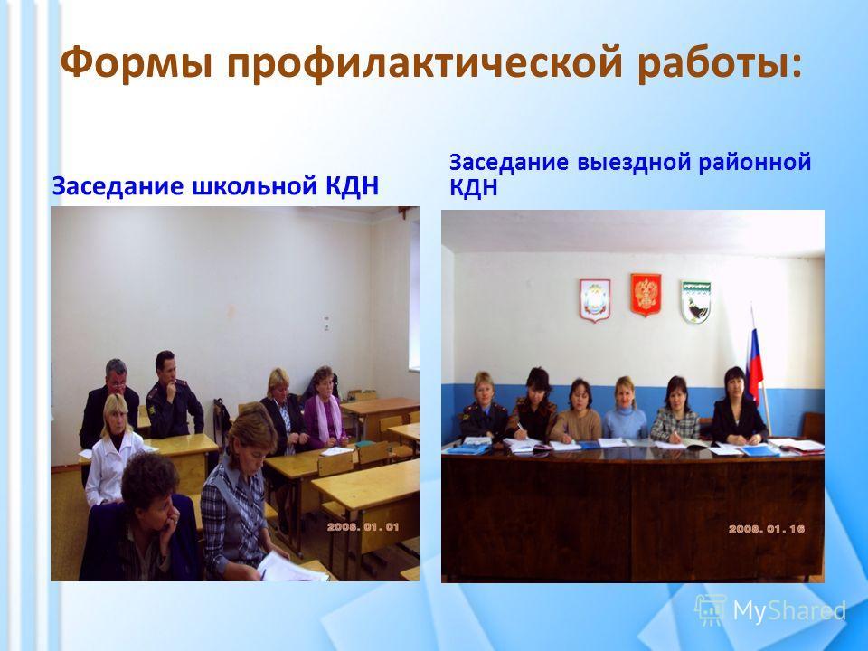 Формы профилактической работы: Заседание школьной КДН Заседание выездной районной КДН
