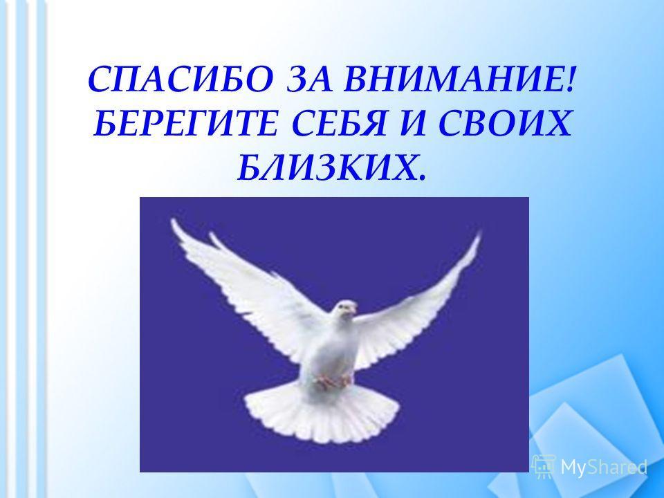 СПАСИБО ЗА ВНИМАНИЕ! БЕРЕГИТЕ СЕБЯ И СВОИХ БЛИЗКИХ.