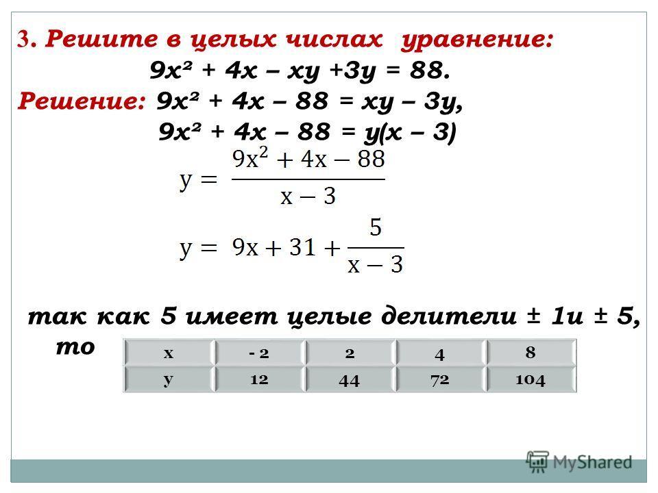 3. Решите в целых числах уравнение: 9х² + 4х – ху +3у = 88. Решение: 9х² + 4х – 88 = ху – 3у, 9х² + 4х – 88 = у(х – 3) так как 5 имеет целые делители ± 1и ± 5, то х- 2248 у124472104