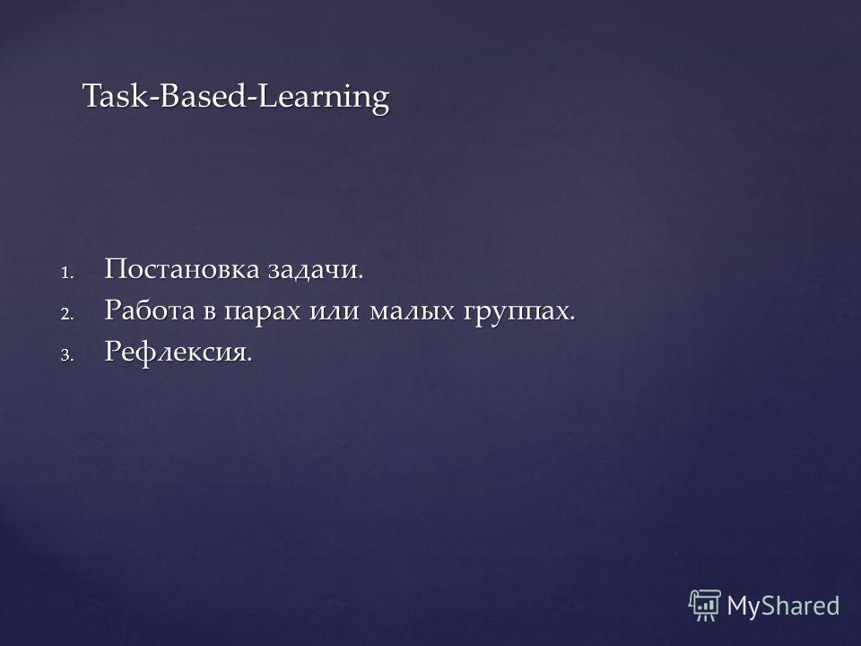 1. Постановка задачи. 2. Работа в парах или малых группах. 3. Рефлексия. Task-Based-Learning