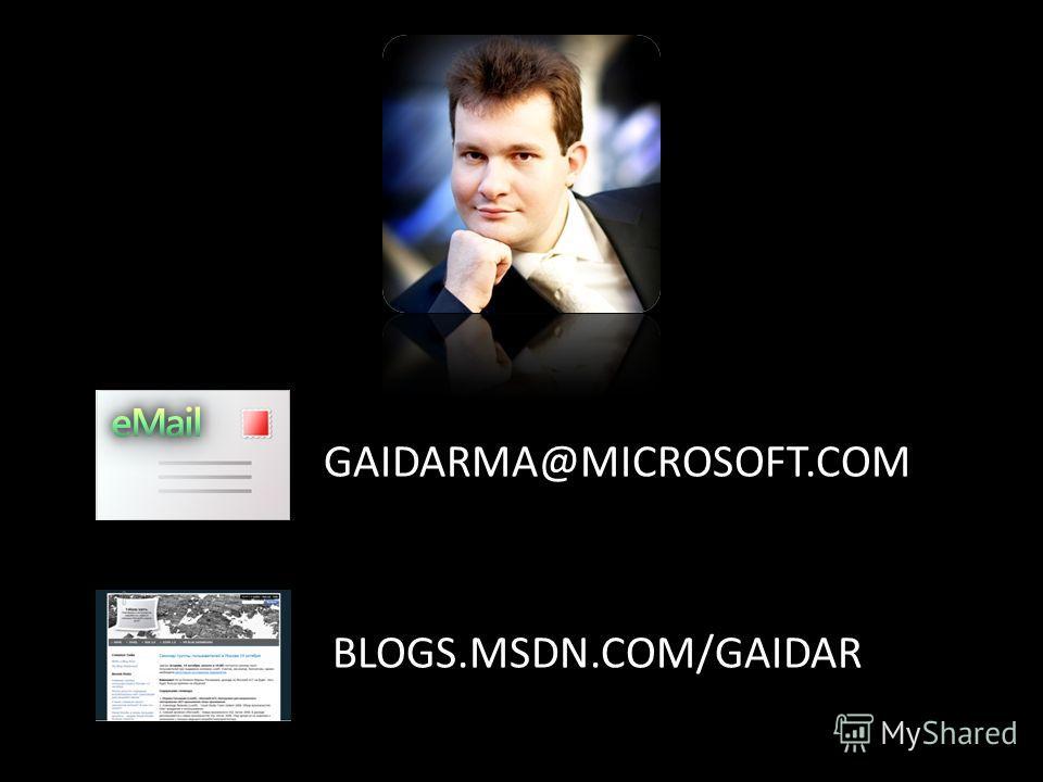 GAIDARMA@MICROSOFT.COM BLOGS.MSDN.COM/GAIDAR